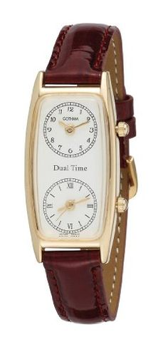 Gotham Womens GoldTone Dual Time Zone Leather Strap Watch  GWC15091GB -- See this great product.Note:It is affiliate link to Amazon.