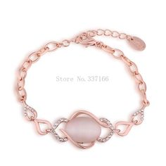 LB052 Top Quality  Rose Gold Color Oval Opal Bracelet & Bangles Crystal Stone Item Chunky Statement Bijoux Women Jewelry #Affiliate