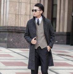 Hot sell ! Grey casual single breasted woolen coat men long overcoat mens cashmere coat business fashion plus size S - 9XL
