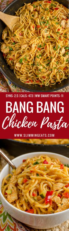 Dig into a bowl of this Delicious Bang Bang Chicken Pasta - a perfect family meal with a spicy kick - Slimming World and Weight Watchers friendly Chicken Diet Recipe, Chicken Pasta Recipes, Pasta Meals, Diet Meals, Healthy Eating Recipes, Cooking Recipes, Delicious Recipes, Easy Healthy Dinners, Weight Watchers Pasta