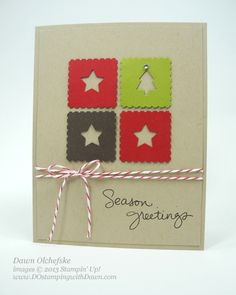 Handmade Christmas card quick and simple design: four square block with Merry Mimis punched out of each square for negative space look, on kraft with candy cane twine. Stampin' Up!