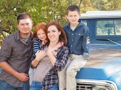 Our family pictures with an old '71 Chevy truck, taken by my brother, Levi Elliott, October 2013. (family picture outfit ideas, family picture with truck, vintage family photos, country family photos)