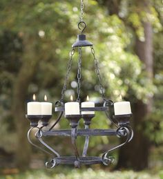 Iron Pillar Candleholder Chandelier - could use LED candles and hang this in the porch area of the tent for GW...? On sale for $65, Plow & Hearth