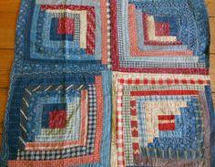 Antique Primitive Americana Indigo Blue Calico Homespun Log Cabin Quilt Piece 1 | eBay