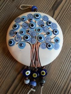 Dükkan Leyla: Nazar Ağacı – Hobbies paining body for kids and adult Stone Crafts, Rock Crafts, Clay Crafts, Evil Eye Art, Clay Art Projects, Evil Eye Jewelry, Bottle Painting, Diy Wall Decor, Pebble Art