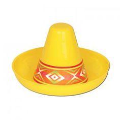 """Déco de salle """"Mini sombreros en plastique jaune"""" 12 cm"""