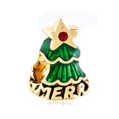 Pugster 22k golden emerald green christmas charm bracelet tree light red: Charms Beads, sale lucky charms, Metal Charms, Christmas Charms, Christmas Collection, Gold Charms, Christmas Beads Gift, DPC_FA214