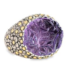 Carved Amethyst Sterling Silver Ring with 18K Gold Accents | Cirque Jewels