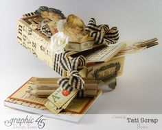 Love the small post-it notebook in this gorgeous altered matchbook box by Tati Scrap using An ABC Primer #graphic45