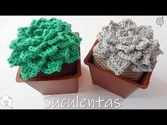 Suculenta tejida a crochet - YouTube Crochet Dolls Free Patterns, Crochet Flower Patterns, Crochet Stitches Patterns, Amigurumi Patterns, Crochet Motif, Crochet Flowers, Crochet Hooks, Crochet Tree, Crochet Cactus