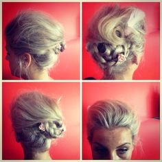 Vintage inspired upstyle with swept back front, side braid & pincurls