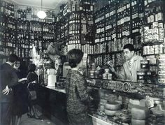 Barcelona, 1950s. Colmado Quílez.  M.Carme.
