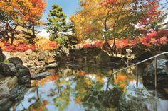 紅葉に染まった露天風呂・五色温泉。