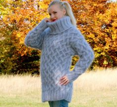 1 6 KG Hand Knitted Mohair Sweater Gray Fuzzy Thick Heavy Jumper by  Supertanya   eBay dc2fc94f61b