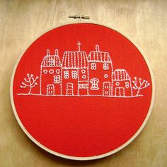 Dutch Houses Embroidery on Red Linen  Wall Art by CandykinsCrafts, $28.00