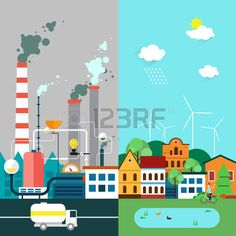 polluted cities: Vector flat illustration of pollution and ecofriendly… Flat Illustration, Graphic Design Illustration, Poster On Pollution, Save Earth Drawing, Spongebob House, Earth Drawings, Save Mother Earth, Drawing Competition, City Drawing