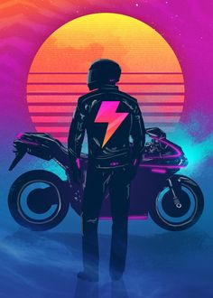 All Synthwave retro and retrowave style of arts Arte Cyberpunk, Cyberpunk Aesthetic, Retro Kunst, Retro Art, Arte Pop, Mayor Tom, Pop Art, 80s Neon, Neon Noir
