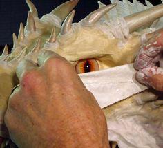 paper mache Drogon- cloth mache eyes 1