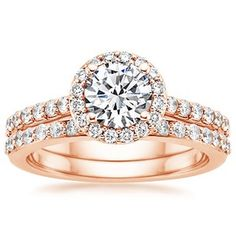 Majestic Halo Set || Round Cut Diamond Wedding Set With White Diamond In 14K Rose Gold