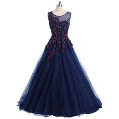 Floral Applique Mesh Overlay Sleeveless Evening Dress - Purplish Blue M Mobile