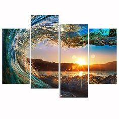 Sea Charm- 4 Panel Florida Seascape Canvas Wall Art Ocean Wave Wall Art for Home Office Inner    Decorating with multi panel wall art is easy, fun and makes your home super trendy and cute.  Furthermore combine multi panel wall art with other canvas art to create a modern wall art vibe in your home.  My favorite rooms to use large multi-panel wall art are rooms like the living room or even a Master bedroom.  Use small pieces of multi panels wall art in smaller spaces such as bathrooms or…