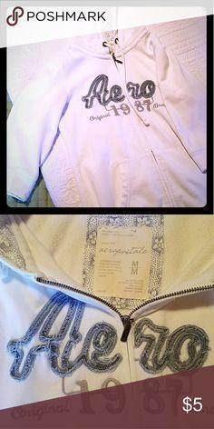 Aeropostale hoodie Quarter length sleeve aeropostle hoodie in a teen medium , all-white white ,blue grey lettering. Aeropostale Jackets & Coats