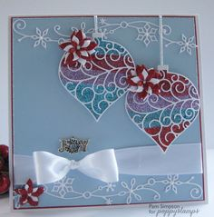 Card by Pam Simpson  (102114)  tutorial   http://poppystamps.typepad.com/poppystamps/2014/10/glitter-ornaments.html  [Poppystamps  Luxe Ornament Background, Luxe Ornament Outline, Small Blooming Poinsettia, Snowy Scrollwork]