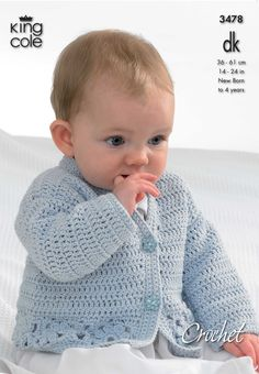 Crochet baby cardigan- King Cole