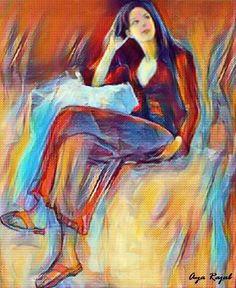 لوحة للفنانة التشكيلية الفلسطينية اية رجب  - معرض سفن تايمز - 27 مارس 2017