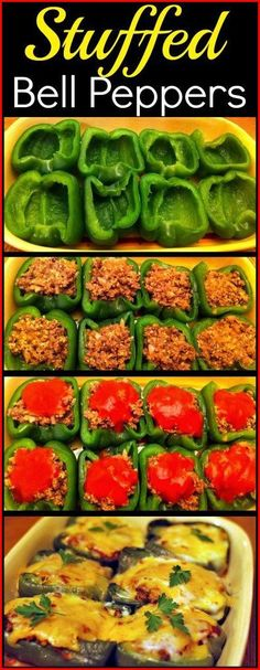 Stuffed Bell Peppers These Stuffed Peppers are one of my favorite recipes! A great one to prep ahead of time then just pop in the oven in time for dinner! The post Stuffed Bell Peppers & Let& Eat! appeared first on Food . Clean Eating, Healthy Eating, Healthy Meals, Healthy Food, Healthy Recipes For One, Dinner Healthy, Simple Recipes, Kebabs, Ground Beef Recipes