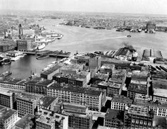 AERIAL VIEW OF BOSTON FROM THE WEST  AERIAL VIEW OF SOUTH BOSTON AND FORT POINT CHANNEL  Fairchild Aerial Surveys Photograph - 1925