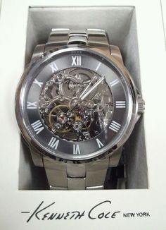 $86 Kenneth Cole New York Men's KC3828 Automatic Gunmetal Ion-Plated Bracelet Watch: Watches: Amazon.com chinese movement