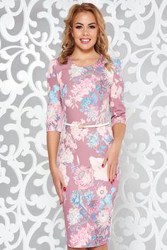 StarShinerS rosa elegant pencil dress slightly elastic fabric accessorized with belt What Should I Wear Today, October 19, Product Label, Pencil Dress, Elegant Dresses, Soft Fabrics, Floral Prints, High Neck Dress, Vibrant