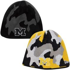New Era Michigan Wolverines Camo Switch Reversible Knit Hat - Navy Blue