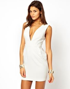 ASOS Deep V Dress With Cut Out Back - Uber cute club look! For those night's out I guess this is what Beyonce would call your freakum dress ; Dressy Dresses, Event Dresses, Nice Dresses, Yes To The Dress, Dress Up, 30th Birthday Outfit, Deep V Dress, Freakum Dress, Rehearsal Dinner Dresses