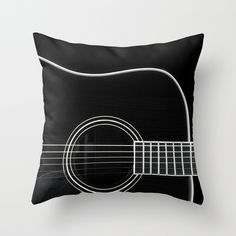Guitar BW Throw Pillow by Katherine Accettura.