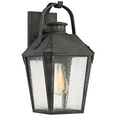 Buy the Quoizel Mottled Black Direct. Shop for the Quoizel Mottled Black Carriage Single Light Tall Outdoor Lantern Style Wall Sconce with Seedy Glass Shade and save. Black Outdoor Wall Lights, Outdoor Wall Lamps, Outdoor Walls, Outdoor Lighting, Outdoor Lantern, Lighting Ideas, Exterior Lighting, Antique Lanterns, Quoizel Lighting