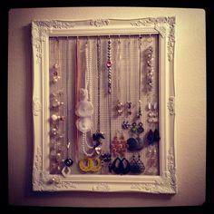 Empty frame jewelry organizer.