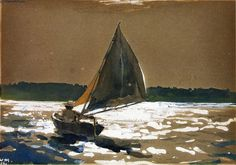 Winslow Homer - Sailing by Moonlight Luminous.moonlight on the water. Nocturne, Winslow Homer Paintings, Boat Painting, Moonlight Painting, Nautical Art, Whistler, Gouache, American Artists, Landscape Paintings