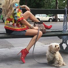 Missing Paris already! #DolceandGabbana jacket, bag and lace booties with #Rag_Bone denim shorts. (Our furball is a Morkie, half Maltese and half Yorkie. He's the sweetest, cutest little guy. A real mamas boy!). See previous post for shoes Up Close. (17 June 2015)