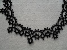 Collier dentelle noire, bijoux collier noir, collier gohique, collier crochet