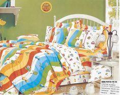 Lenjerie de pat bumbac Casa New Fashion pentru o persoana cu dungi si masinute