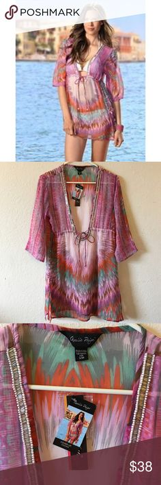 Charlie Paige Pink tie dye Swim Cover-up (S/M) NWT, Beautiful swim cover-up dress!  Extremely well made Wrinkle free material!  Purchased while on vacation on the  Big Island of Hawaii at a high end swim boutique in the Waikoloa Resort Hotel! Purchased for $88. (Not Victoria secret, but there is no selection for Charlie Paige!) Victoria's Secret Swim Coverups