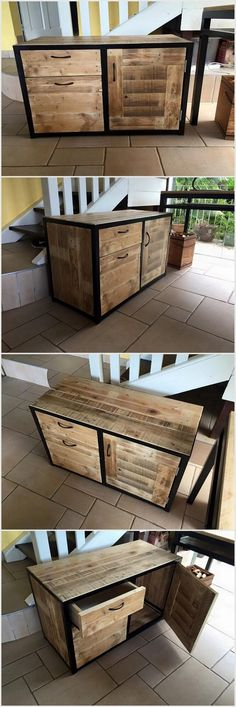 If you are capable enough to deal with pallet woods then you have to make this table which contains drawers and cabinets. The surface of this item is very smooth which makes it more functional and usable. We have given black shade to the border of this fixture item.