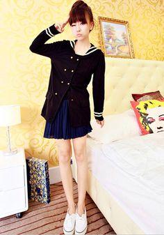 [qz045] เสื้อผ้า Pre Order เสื้อแฟชั่นเกาหลีแขนยาวแบบมหาลัย | SoMoreMore.Com