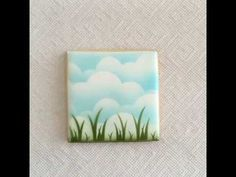 Clouds & Grass Double-Ended Stencil | stencibelle Golf Cookies, Fancy Cookies, Cupcake Cookies, Cupcakes, Sugar Cookies, Cookie Decorating Icing, Cake Decorating Tutorials, Airbrush Cake, Cloud Stencil