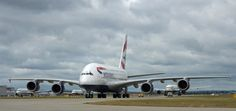 First BA Airbus A380 arriving at London Heathrow.