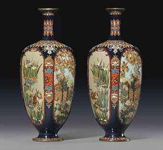 JAPAN__A Pair of Cloisonné Vases Meiji Period (late century) Each worked… Fine Porcelain, Porcelain Ceramics, Painted Porcelain, Yorkshire, Asian Vases, Pottery Painting Designs, Art Japonais, Blue Pottery, Japanese Porcelain