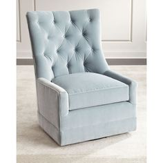 Remus Tufted Swivel Chair (85.440 RUB) ❤ liked on Polyvore featuring home, furniture, chairs, accent chairs, light blue, tufted chair, handcrafted furniture, swivel occasional chairs, swivel chairs and light blue accent chair