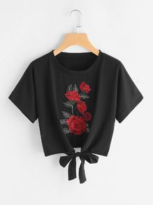 Embroidered Patch Self Tie Front Tee